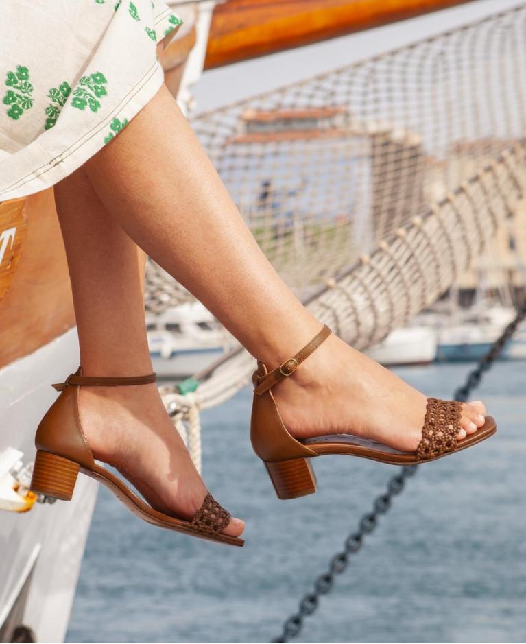 Sandales n°200 Croco Jaune Indien
