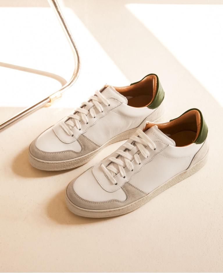 Baskets n°14 Cuir Blanc / Python Vert